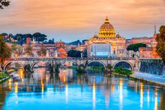 St Peter Cathedral, Rome, Italy. Wonderful view of St Peter Cathedral at sunset, Rome, Italy Stock Photo