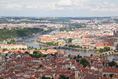 Wonderful View To The City Of Prague From Petrin Observation Tower In Czech Republic Stock Image
