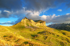 Wonderful view to mountains in the national park Durmitor. Montenegro Balkans Europe. Beauty world. Autumn Landscape jn a blue sky Royalty Free Stock Image