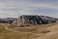 Wonderful view to mountains in the national park Durmitor in Montenegro, Balkans. Europe. Beauty world. - Image.  royalty free stock photography