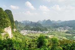 Wonderful view of valley among scenic karst mountains, Yangshuo royalty free stock image