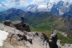 Wonderful view in the valley to pordoi road pass and distinctive marmolada. Gardena valley in south tyrol / dolomites / rosengarden / sella / sassolungo Royalty Free Stock Photos