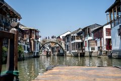 Wonderful View Zhouzhuang Water Town in an old Boat stock photos