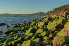 The wonderful views from the beach of Arribolas.  royalty free stock photos