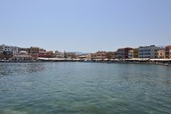 Wonderful Views Of The Port Of Chania In Venetian Style With Immensity Of Souvenir Shops And Restaurants. History Architecture Tra royalty free stock photography