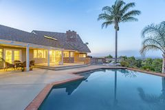 Wonderful views in southern California home with a pool and barb. Eque. Wonderful California home in San Diego county. Real estate listings with powerful visuals Stock Photo