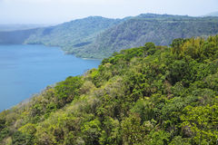 Wonderful volcanic crater lake Apoyo Stock Photo