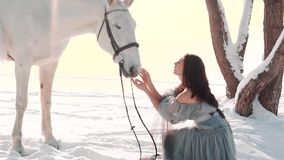 Wonderful warlike girl with black hair sits near magic horse in the snow near the frozen river, lady in a gorgeous gray