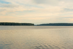 Wonderful warm evening on the river in summer. River Volga in the summer evening royalty free stock photography