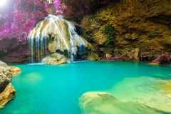 Wonderful waterfall with colorful tree in thailand Stock Photography