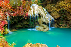 Wonderful waterfall with colorful tree in thailand. Photo wonderful waterfall with colorful tree in thailand stock images