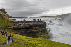 Wonderful waterfall Gullfoss in Iceland, summer time Royalty Free Stock Photos