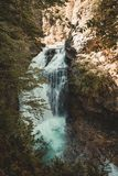 Wonderful waterfall in the middle of the forest in Ordesa National Park, Spain. Lanscape with waterfall stock photography