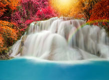 Wonderful Waterfall with rainbows in deep forest at national par. K, Thailand royalty free stock photos