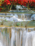 Wonderful Waterfall with rainbows in deep forest at national park Stock Photography