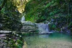 Wonderful waterfall among the rocks in mountain forest Royalty Free Stock Images