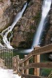 Wonderful waterfall savica in wintertime, slovenia. Sightseeing of wonderful waterfall slap savica in wintertime, slovenia royalty free stock photo