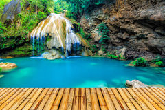 Wonderful waterfall in thailand with bamboor floor. Photo wonderful waterfall in thailand with bamboor floor royalty free stock photos