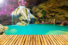 Wonderful waterfall in thailand  with bamboor floor Stock Photo
