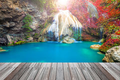 Wonderful waterfall in thailand  with wooden floor Stock Image