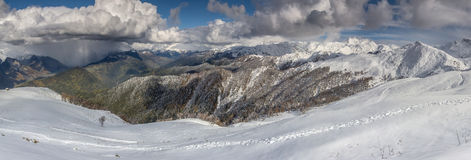 Wonderful weather. Panoramic view on mountains in winter Royalty Free Stock Images