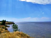 Wonderful wide  Dnieper river. High shore steep Royalty Free Stock Photos