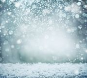 Wonderful winter background with snow and bokeh. Winter holidays. And Christmas concept stock photo