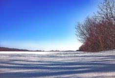 A wonderful winter day. On the street winter, a wonderful sunny day, went out into nature and made a beautiful fotos royalty free stock image