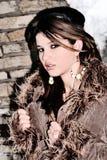 Wonderful winter look. Girl wearing a long nice look Royalty Free Stock Images