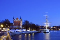Wonderful winter night wiev of the Admiralty House and the af Ch Royalty Free Stock Photos