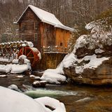 Winter Scene At The Grist Mill royalty free stock images