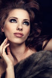 Wonderful woman in fur. Portrait of wonderful woman in fur royalty free stock photography