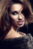 Wonderful woman in fur. Royalty Free Stock Images