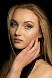 Wonderful woman with natural makeup and lush blonde hair Royalty Free Stock Photo
