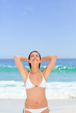 Wonderful woman posing in front of the camera Royalty Free Stock Photos