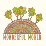 Wonderful World. Card With Abstract Hand Drawn Landscape. Wonderful World. Vector Illustration Royalty Free Stock Photo