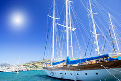 Wonderful yacht in blue bay near Bodrum town. Stock Images