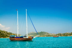 Wonderful yachts in the bay. Turkey. Kekova. Stock Images