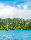 Wonderful yachts in the bay. Turkey. Kekova. Stock Photos