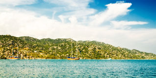 Wonderful yachts in the bay. Turkey. Kekova. Royalty Free Stock Image