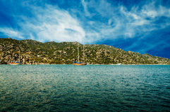 Wonderful yachts in the bay. Turkey. Kekova. Stock Photo