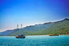 Wonderful yachts in the bay. Turkey. Kekova. Stock Photography