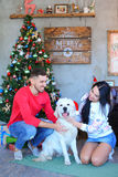 Wonderful young couple smiling and playing with dog in santa hat Royalty Free Stock Photos