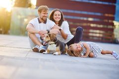 Wonderful young family is resting sitting on the ground. Dad, Mom, little daughter and beagle. Warm summer weather, good mood royalty free stock photography