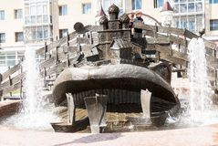 Wonderful yudo Fish whale fountain in Tobolsk Stock Photos