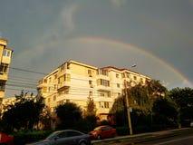 Wonderfull彩虹在康斯坦察罗马尼亚 免版税图库摄影
