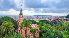 Wonderfull metropolitan city of Barcelona seen from high peek royalty free stock photography