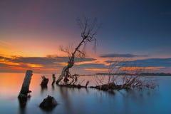 Wonderfull wschód słońca przy muara kecil plażą, tanggerang Indonesia obrazy stock