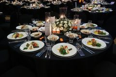 A wonderfully designed wedding room and dining tables or gala co Stock Photography