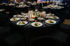 A wonderfully designed wedding room and dining tables or gala co Stock Photo